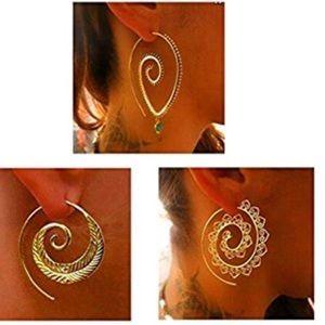 💥💥RESTOCK💥💥Tribal Spiral Hoop Earrings